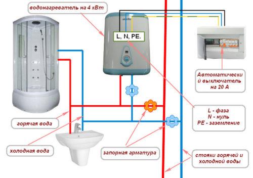 Электрическая схема подключения водонагревателя