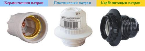 разновидности патронов для светильников