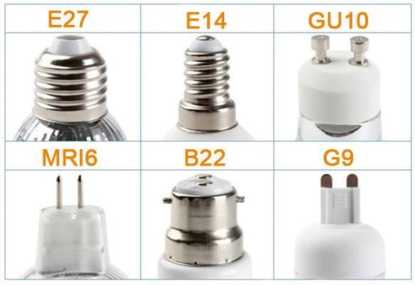 разновидности цоколей для светильников