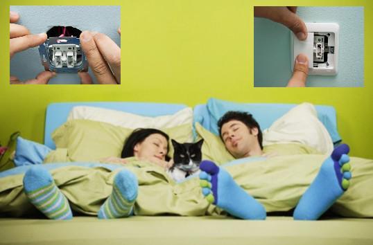 Размещение выключателей в спальной комнате