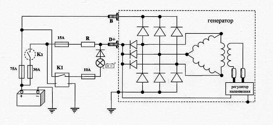 Принципиальная схема зарядки аккумулятора автомобиля