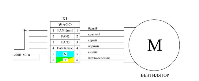 Схема регулировки скорости вентилятора переключением выводов обмотки
