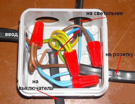 Назначение соединений в соединительной коробке