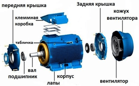 Устройство асинхронного электродвигателя