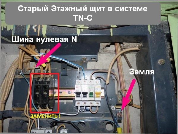 Этажный распределительный щит со старыми автоматами