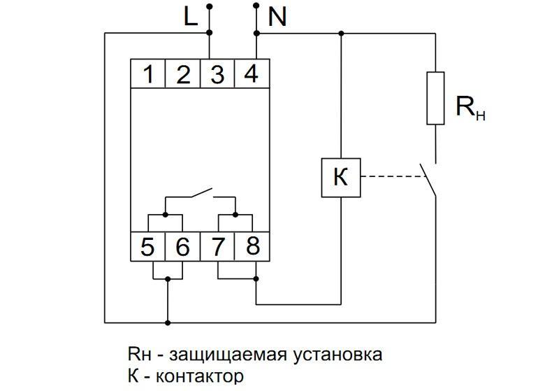 Схема подключения реле напряжения через пускатель
