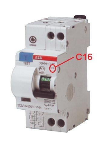 Маркировка номинального тока и характеристик дифавтомата