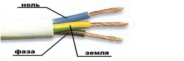 Трехпроводный кабель с маркировкой проводов по цвету