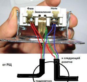 Подключение розеток без обрыва проводов