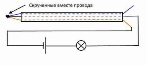Схема подключения индикаторного прибора с лампочкой