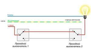 Простая схема подключения одной линии освещения