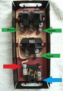 Пример подключения к трехклавишному устройству
