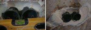 Пример крепления подрозетников в бетонную стену