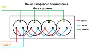 Простая схема последовательного подключения блока розеток