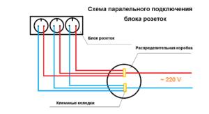 Схема параллельного подключения блока розеток