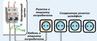 Схема отдельного подключения блока розеток и линии для мощных приборов