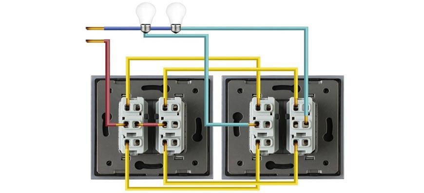 Разделение проводов в соответствии с цветами в проходном выключателе
