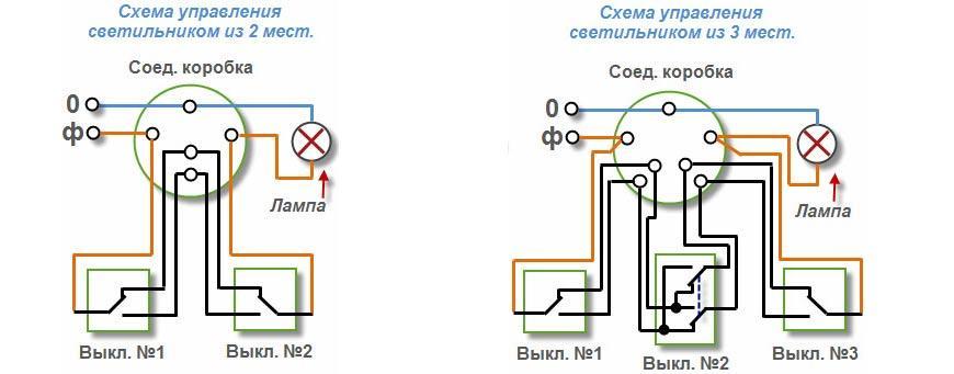 Схемы для подсоединения проходных устройств с регулированием из двух либо трех мест