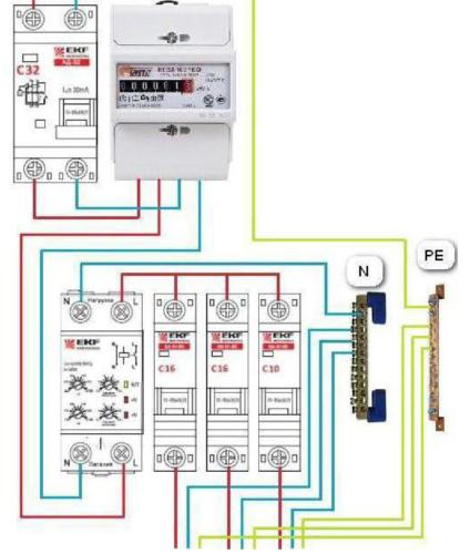 Схема подключения прибора УЗМ-51 к однофазной цепи в частном доме или квартире