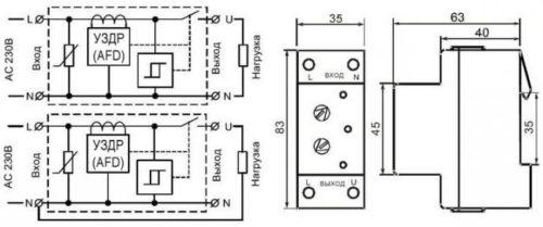 Схема подсоединения прибора УЗМ-51 к трехфазной сети с указанием основных размеров