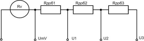Простая схема включения добавочных резисторов для расширения допустимых границ измерений
