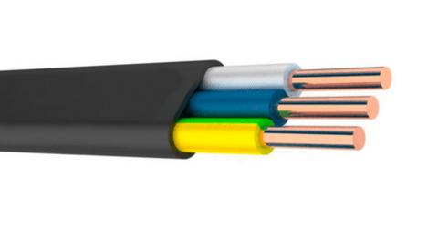 Внешний вид ВВГ плоской формы с тремя проводами