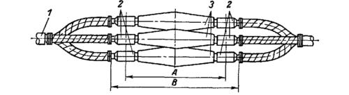 Общий вид коммутации стопорного устройства через соединительные гильзы