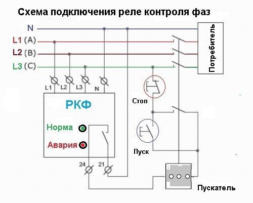 Схема подключения РКФ через пускатель с применением кнопочного управления