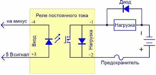 Монтаж твердотельного реле (схема установки)