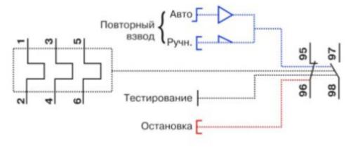 Включение реле в 3-х фазную сеть, управление выполняется через кнопки Стоп и Старт