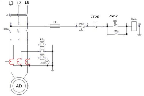 Структурная схема подключения теплового реле согласно требований ГОСТ с обозначениями