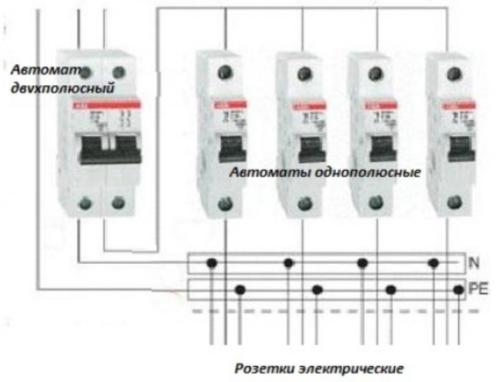 Схема подключения электросчетчика к линиям нагрузки в квартире через однофазные автоматы