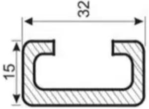 Рейка в форме литеры С отличается симметричностью формы по отношению к вертикальной оси