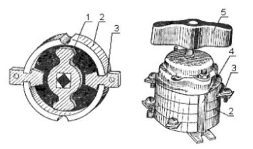 Конструкция пакетного выключателя с указанием основных элементов, помеченными номерными позициями