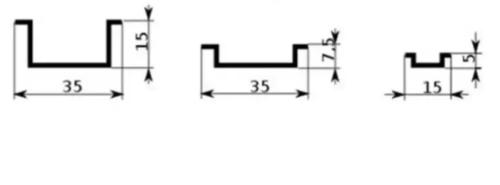 Дин-рейка типа Омега с указанием основных размеров во всех видах исполнения