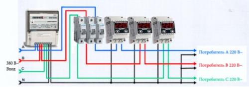 Пример типовой схемы подключения реле напряжения в трехфазную промышленную сеть