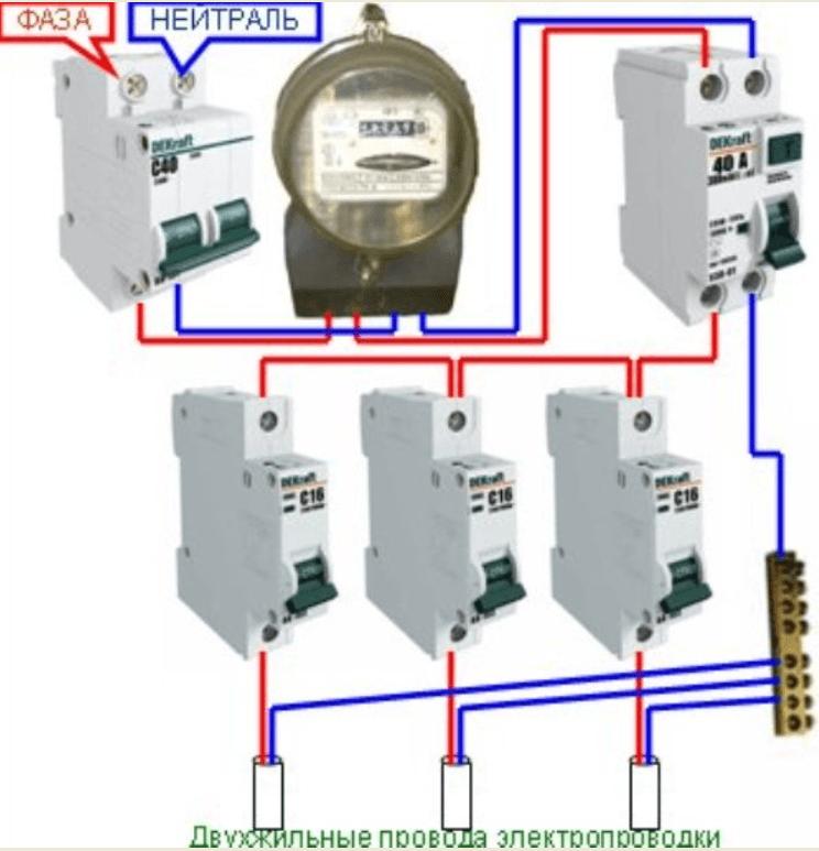 Схема подключения УЗО в однофазной сети с заземлением и без