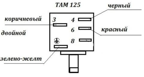 Принципиальная схема для подключения теплового регулятора марки ТАМ-125 для холодильника