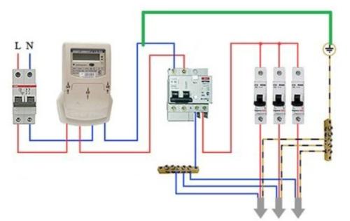 Схема подключения защитного прибора. Рабочий проводник нельзя соединять с защитным проводником