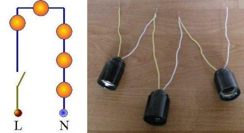 При соединении по последовательной схеме окончание одного светильника соединяется с начальным проводом другого