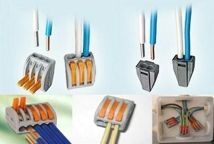 Удлинение имеющегося провода рекомендуется выполнять при помощи пружинных клемм или клеммных колодок