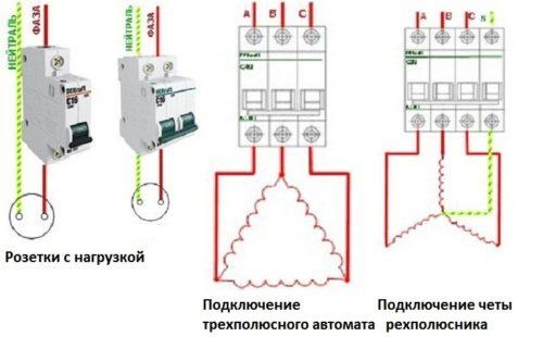 Нагрузка к автомату подключается по схеме звезда без нейтрального провода, в этом случае автоматический выключатель ставится индивидуальный на конкретный вид оборудования.
